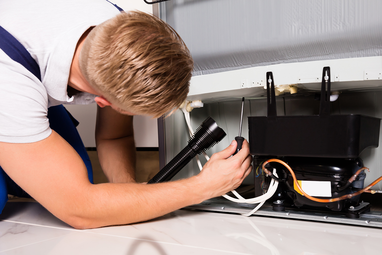 Appliance Repair Technician Checking Refrigerator in Chicago IL 60660